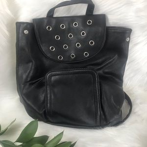 Black Bucket Backpack Purse School or Work